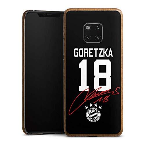 DeinDesign Holz Hülle kompatibel mit Huawei Mate 20 Pro Holz Schutzhülle Echtholz Handyhülle Goretzka #18 FC Bayern München Trikot