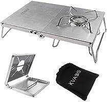KVASS 遮熱テーブル SOTO ST-310 遮熱板 シングルバーナー用 テーブル 一台多役 折り畳み 4種類バーナー対応 ステンレス製 二つ折りテーブル コンパクト 軽量 ソロキャンプ 専用収納袋付き