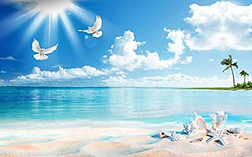 Carta da parati 3D Murales Cielo blu Mar Bianco Gabbiano Scenario Soggiorno Camera da letto Tv Sfondo Decorazione murale Art foto immagine poster -250×175cm(LxA)