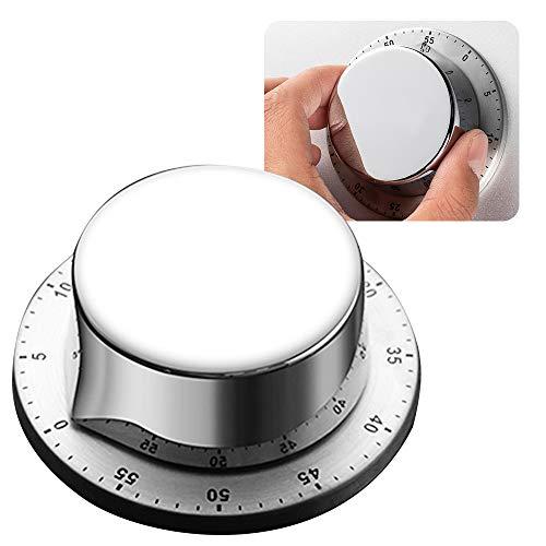 Kurzzeitwecker Magnetisch Edelstahl, ZoneYan Timer Mechanisch, Countdown Timer Edelstahl, Kurzzeitmesser mit Magnetischem Boden, Eieruhr Küchentimer, Mechanische 1 Stunden Kurzzeitmesser (Silber)