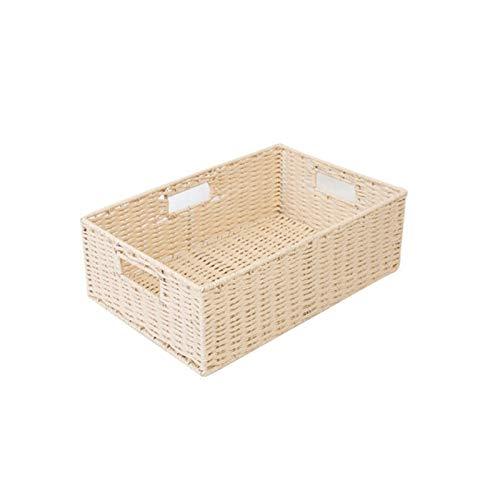 Cestas de almacenamiento de cuerda de papel de mano, trenzadas, multiusos, ideal para guardar pequeños artículos del hogar (color: B)