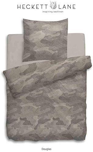 Heckett Lane FlanellxBiber-Bettwäsche Douglas 135x200+80x80cm, Farbe Taupe, Design Camouflage
