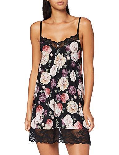 Emporio Armani Underwear Damen Petticoat Nachthemd, Nero Stampa Fiori - Black Print Flowers, XS