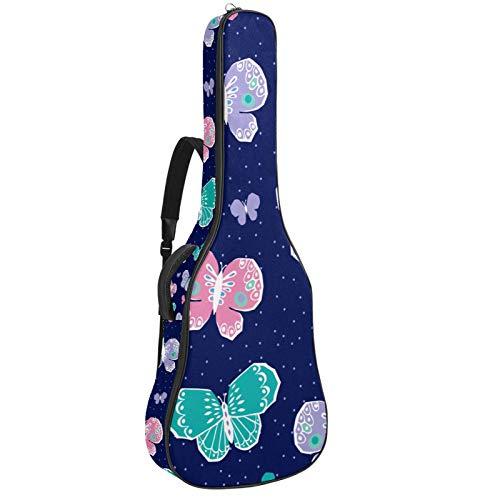 Bennigiry Bolsa de guitarra acústica para guitarrista, color morado, rosa, verde y azul