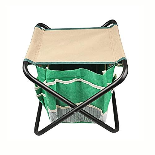 Sgabello da giardino pieghevole portatile Borsa per attrezzi da giardiniere staccabile Mini sedia pieghevole multiuso per la pesca di sport all'aria aperta