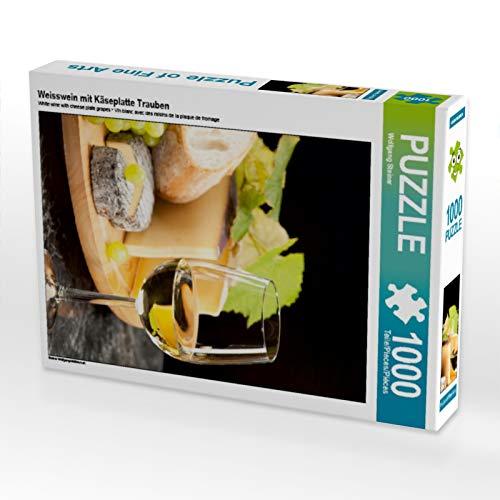 CALVENDO Puzzle Weisswein mit Käseplatte Trauben 1000 Teile Lege-Größe 48 x 64 cm Foto-Puzzle Bild von Wolfgang Steiner