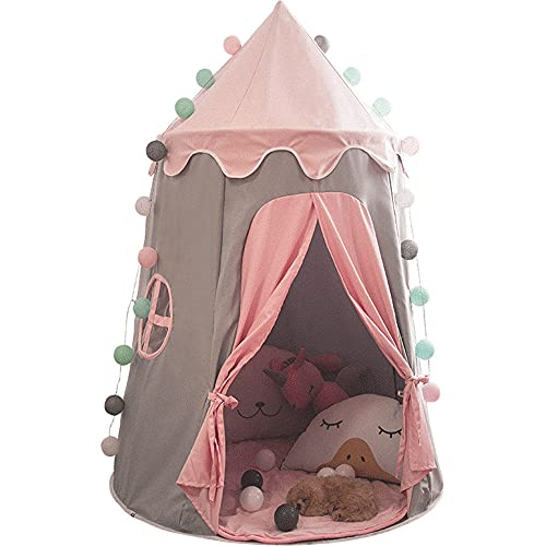 liliiy Tienda De CampañA Infantil para NiñOs Castillo De Princesa, Tipi Infantil para NiñOs con Cubierta De Suelo Y Ventana, Producto De Interior Y Exterior,Pink-Icesilkpad