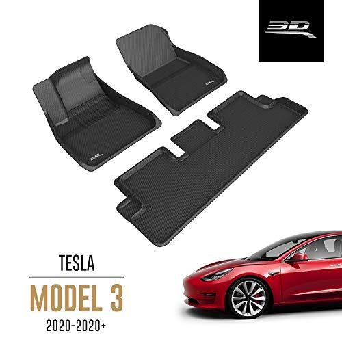 3D MAXpider All-Weather Floor Mats for Tesla Model 3 2020 Custom Fit Car Floor Liners, Kagu Series (1st & 2nd Row, Black)
