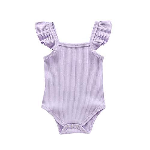 LEXUPE Neugeborene Baby Mädchen Jungen Feste Rüschen Strampler Bodysuit Outfits Kleidung(Lila,70)