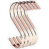 PAMO S ganci in rame rosa in metallo – Set di 5 ganci da cucina in acciaio inox per appendere padelle in cucina o vestiti all'asta appendiabiti gancio a S in acciaio inossidabile (5, oro rosa)