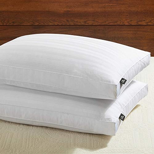 downluxe Goose Down Feather Pillow - 2 Pack Gusseted Bed...