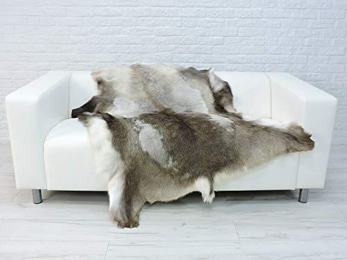 World of Sheepskins Alfombra de piel de reno, auténtica piel de reno escandinavo, sofá R445