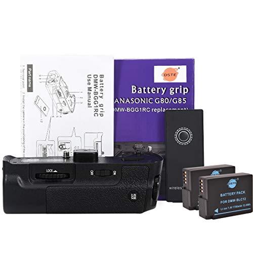 DSTE Vertical Batería Apretón Titular DMW-BGG1 con Control Remoto IR Compatible para Panasonic Lumix G80/G85 Digital Cámara + 2X DMW-BLC12 Batería