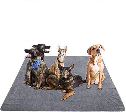 Yangbaga Bodenschutzmatte für Hunde Trainingsunterlagen wiederverwendbar Fressnapfunterlage rutschfest kann selbst schneiden 182 * 182cm Grau