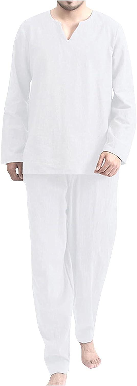 Mens Cotton Pajama Set, Soft Long Sleeve Pajamas For Men Lightweight Up Sleepwear Lounge Pjs Set