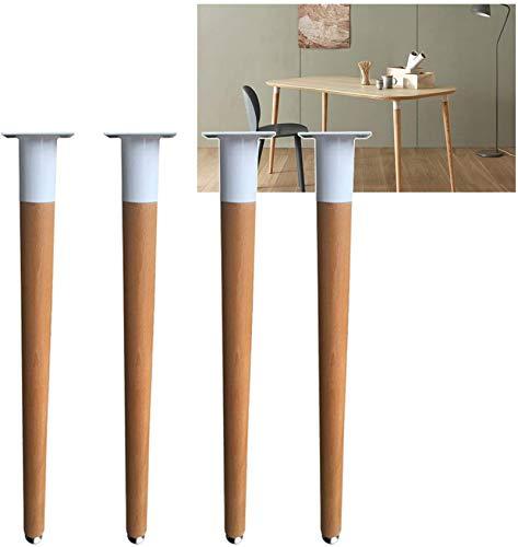 Patas para muebles, 4 unids Piernas de madera para muebles 60 cm 70 cm - Escritorio de computadora de madera cónico Blanco Negro - Accesorios de la mesa de apoyo a la comida, color de madera original,