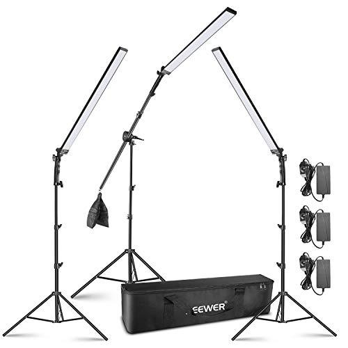 Neewer 3-Pack Kit de Iluminación de Video LED: Varilla de Luz LED de 5500K con Brillo Ajustable Soporte de Luz de 2,24 Metros Brazo de Pluma, Bolsa de Arena Vacía y Bolsa para Fotografía Video Estudio