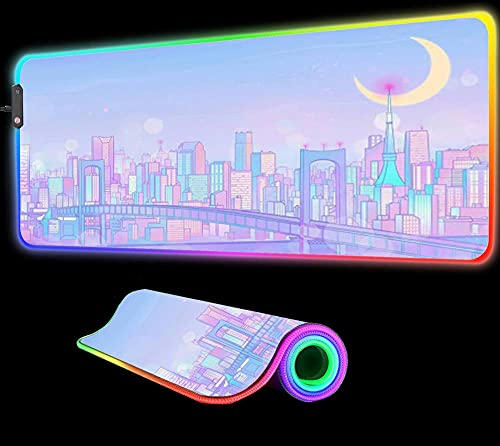Mouse Pads Sailor Moon Pink Landscape Gaming Mouse Pad Large RGB Computer Gaming Gamer Mat LED with Backlit Mat Keyboard Desk Mat,27.55 inch x12 inch