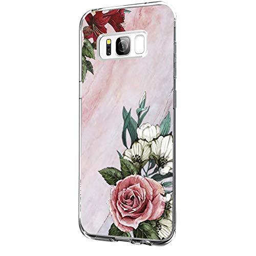 Riyeri Hülle Compatible with Samsung Galaxy S8 PlusHülle Klar Slim TPU Silikon Bumper Handyhülle für Samsung S8 Plus - Marmor & Blume (Samsung S8 Plus, 9)
