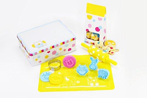 kullaloo Bezauberndes Set für Kinder zum Plätzchen backen & Ausstechen von gesunden Leckereien - inkl. Kekstempel, Ausstechern, Teigroller UVM. -