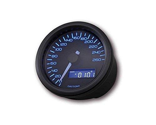 Compteur moto Daytona Velona, boîtier noir, ronde D. 60 mm, jusqu'à 260 KM/H