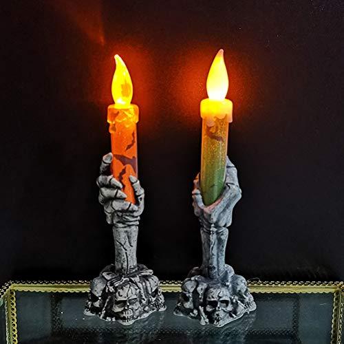 TAIPPAN - Lampada elettrica a LED per candele, motivo scheletro per Halloween, decorazione per Halloween e feste natalizie, 2 pz