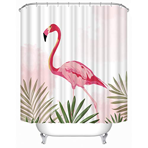 Cheerhunting Flamingo Shower Curtain, Pink Flamingo with Green Palm Leaf, Bathroom Accessories with Hooks for Bathroom, 72W x 72H Waterproof Fabric Bathroom Decor, Pink