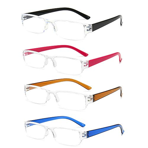 4 pacco Occhiali da lettura ultraleggeri anti luce blu con montatura trasparente, 3.0