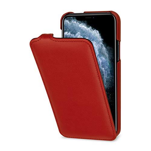 StilGut Hülle kompatibel mit iPhone 11 Pro Tasche aus Leder, vertikales Flip-Case, rot Nappa