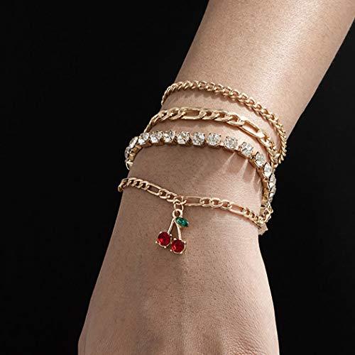 Bohend Moda En capas Diamante de imitación Esposas Oro Cereza Multicapa Cadena de mano Ajustable Metálico Pulsera Joyería para Las mujeres y las niñas