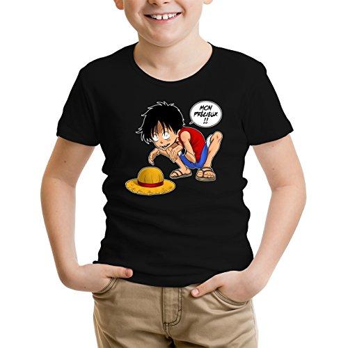 T-Shirt Enfant Noir One Piece et Seigneur des an. parodique Luffy et Gollum : Mon Précieux (Super Deformed) (Parodie One Piece et Seigneur des an.)