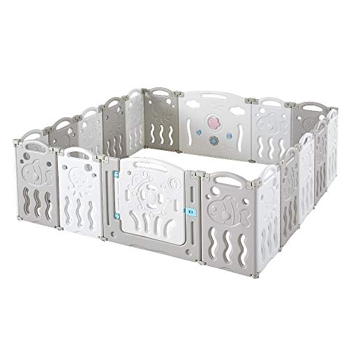 Albott Baby Fence Kid Playpen 18 Panel Play Yard - Foldable Kids Safety Activity Center Playard Safety Lock Gate,Adjustable Shape, Portable Design for Indoor Outdoor Use (Grey+White, 18 Panel)