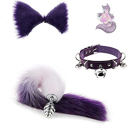 Zilwise 3Pcs/Set Séẍy Fluffy Fox Tail Bǔ-tt Pl'ǔġ Plush Cat Ear - Punk Gothic Leather Collar and Multicolor Leather Bell Choker Collar Necklace for Couple Cosplay, Party Sunglasses (Size : Small)