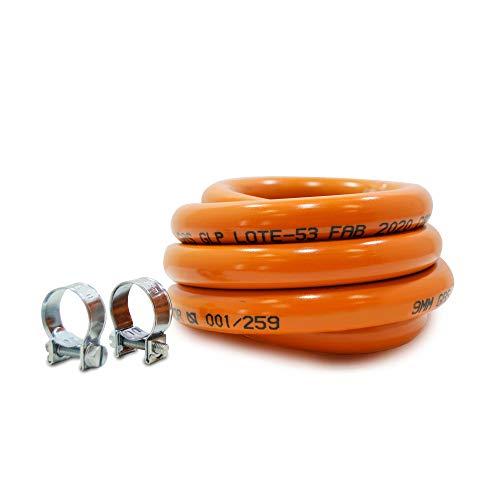 S&M 591006 Kit Tubería homologada de Gas Butano de 1,5 Metros-Ø 9 mm con Abrazaderas con pestaña, Naranja