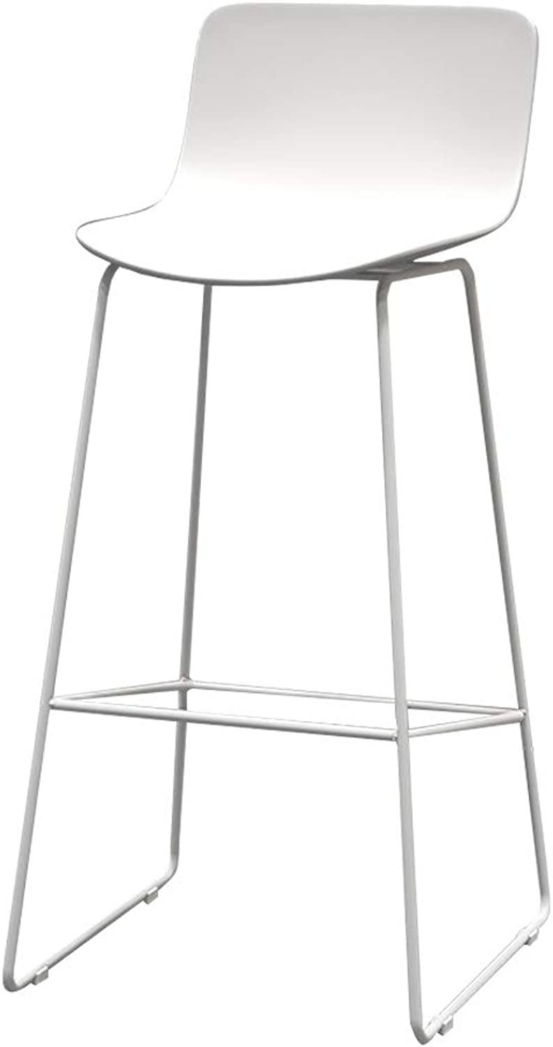 Modern Barstools Chair with Back and Footrest Upholstered Side Dining Chairs for Kitchen Pub Bar Bistro Café Counter Height Stool   PP Seat and Metal Legs
