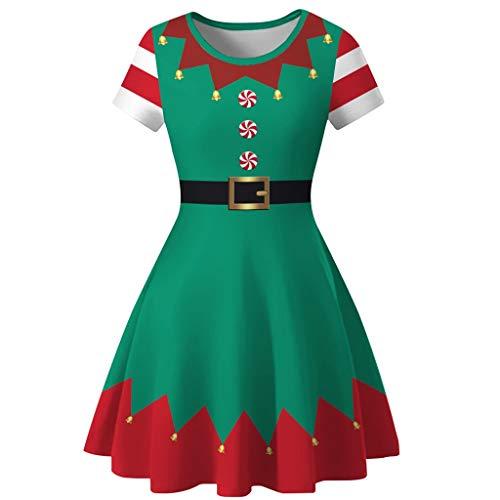 Berimaterry Damen Weihnachtskleid 1950er Vintage Abendkleid Partykleid Frauen Mädchen Weihnachten Karneval Kostüm Cocktailkleid Print Mode Minikleid Knielänge A-Linie Rockabilly Swing Kleid