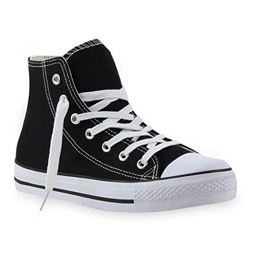 stiefelparadies Damen Sneakers Denim Stoff Spitze Sneaker Low Nieten Glitzer Freizeit Damen Turn Schuhe 35330 Schwarz Weiss 36 Flandell