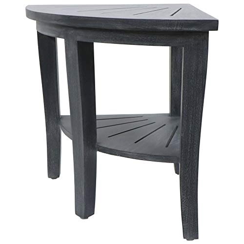 Redmon Genuine Teak Corner Bench, Weathered Grey