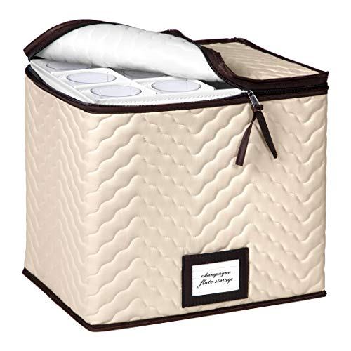 Champagne Flute Storage Box Case - Organizer Chest Holds 12 Stemware Glasses - Durable Microfiber Container Bin with Dividers - Protects Champagne Flutes Crystal Glass Wine Glasses and Fine China