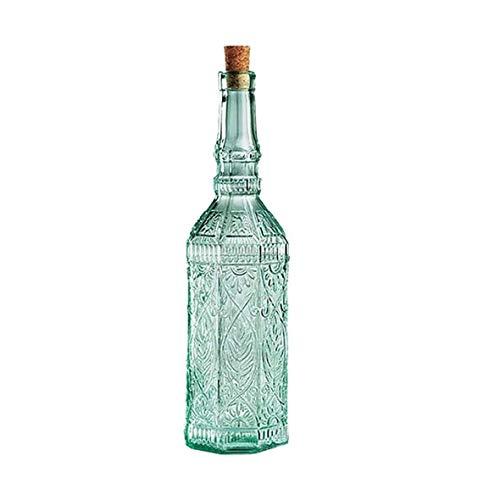 Aceitera y vinagrera Botella de cristal del aceite de oliva con el patrón de flores de diseño, a prueba de fugas Contenedor Condimentos, sin plomo de cristal del aceite vertedor ( Size : 720ml )