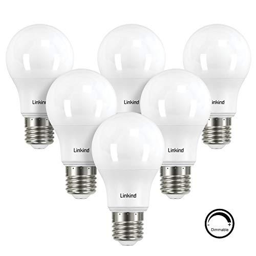 Linkind Dimmbare 9W LED Birne, 60W Glühlampe ersetzt, E27 Warmweiß 2700K Lampen, 806lm, ERP, CE-zertifiziert, 6er Pack