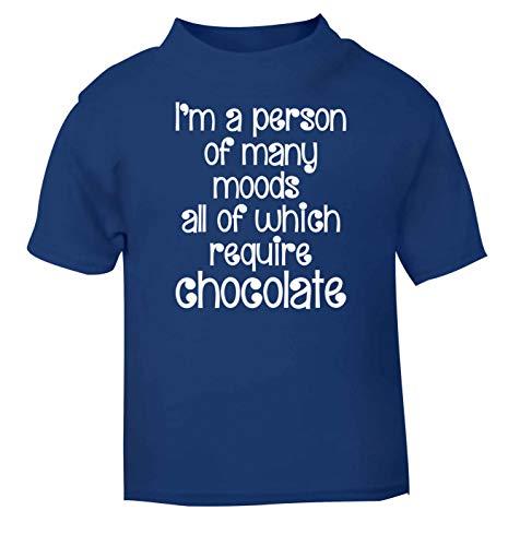 Flox Creative T-Shirt pour bébé Inscription « Person of Many Moods » Chocolat - Bleu - 2 Ans