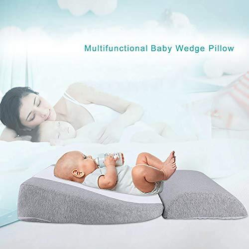Newzealkids Baby Wedge Pillow, Infant Sleep Wedge for Crib, Anti Reflux Pillow Baby Wedge Pillow for Acid Reflux, Universal Bassinet Wedge,15-Degree Incline Makes Baby Sleep Better(Grey)