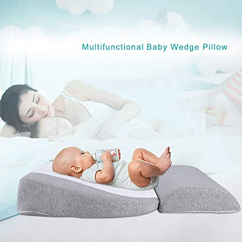 Newzealkids Baby Wedge Pillow, Infant Sleep Wedge for Crib, Anti Reflux Pillow Baby Wedge Pillow for Acid Reflux, Universal Bassinet Wedge,15-Degree Incline Makes Baby Sleep Better(Grey)
