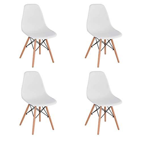 BenyLed 4er Set Modernen Kunststoff-Esszimmerstühlen im Retro-Design, für Esszimmer, Küche, Büro, Restaurant, etc. (Weiß)
