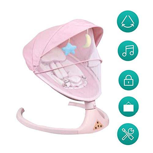 FCDWHJ Zusammenklappbare und tragbare Babyschaukel mit 5 Schaukelgeschwindigkeiten, per App bedienbar, mit Musik Lautstärkeregulierung und abnehmbarem Spielzeugbügel,Rosa