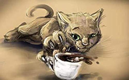JDFKK Holz Puzzle Film, Green Eyed Cat Coffee 1000 Stück Holz DIY Puzzles, Kinder Zu Begleiten Ist Die Beste Liebe Für Ihn Puzzles