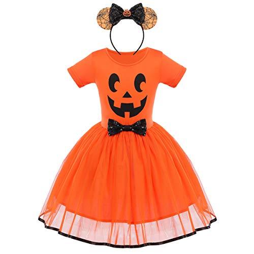 FYMNSI - Costume da principessa per bambina, per Halloween, travestimento da fantasma, zucca a una linea di tulle da principessa, per carnevale, feste, cosplay, per 6 mesi, 6 anni Faccia di zucca arancione + fascia 5 anni