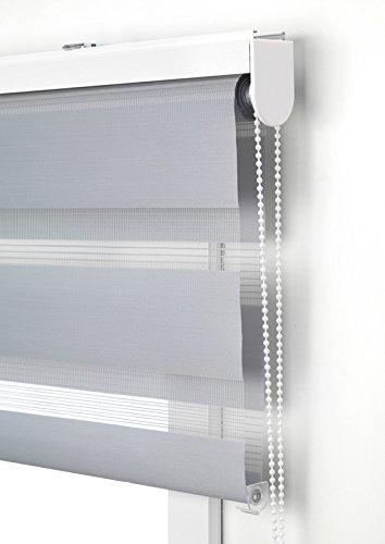 Estor Noche y día Enrollable a Medida Basic Tejido Color Gris. Medida 180cm x 250cm para Ventanas y Puertas