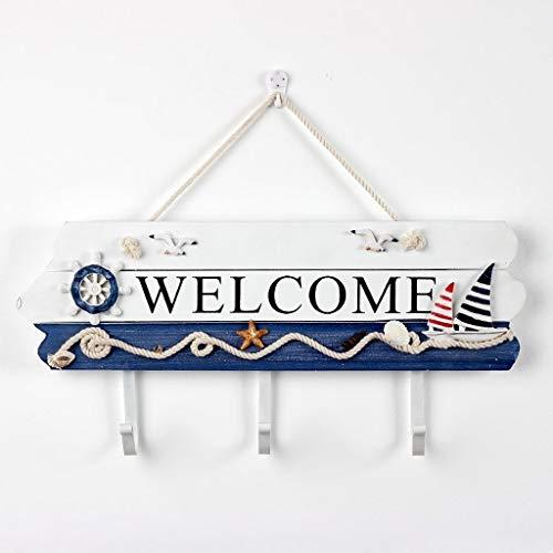 LXJ Hausnummer, Wandschild, Doppelseitig, Dekorative Adresshalterung, Mediterrane Begrüßungsschilddekoration, Hakenschildwanddekoration (Color : A)